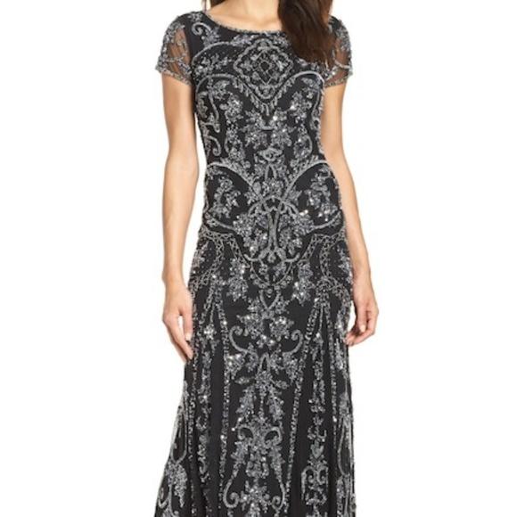 9727de30928 Pisarro Nights Embellished Mesh Gown